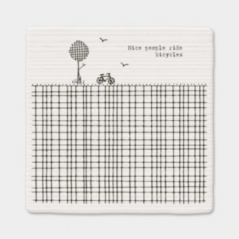 East of India White Porcelain Square Coaster