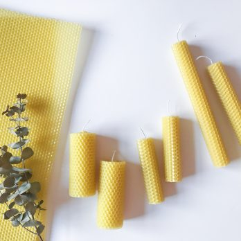 100% Beeswax Hand-Rolled Pillar Candles (set of 2 long)